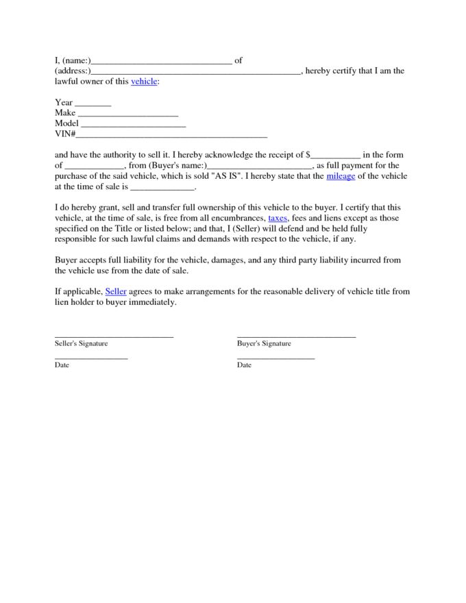 Second Car Sale Agreement And Contract Letter Template : Vlcpeque