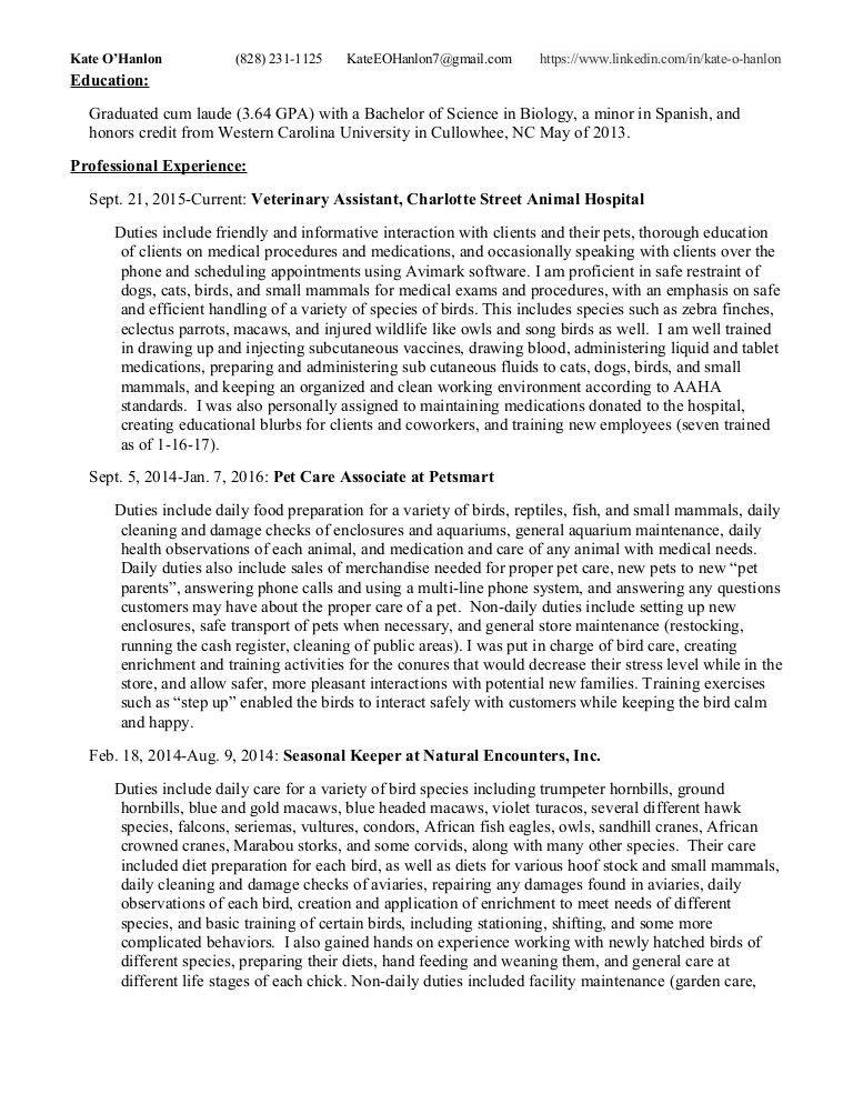 Zoo Resume- O'Hanlon, Kate