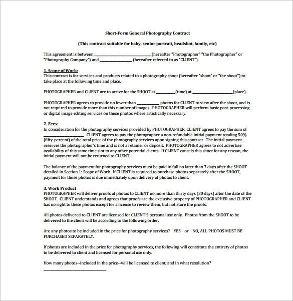 Short Form General Photography Contract PDF Free Download ...