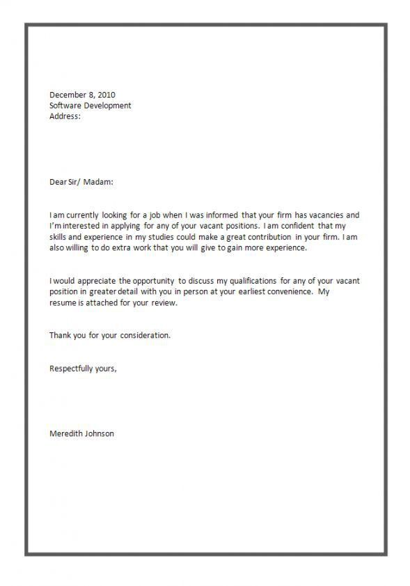 Cover Letter Formats For Job Application Cover Letter Examples