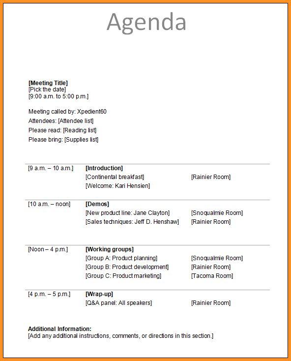 6+ meeting agenda sample | cook resume