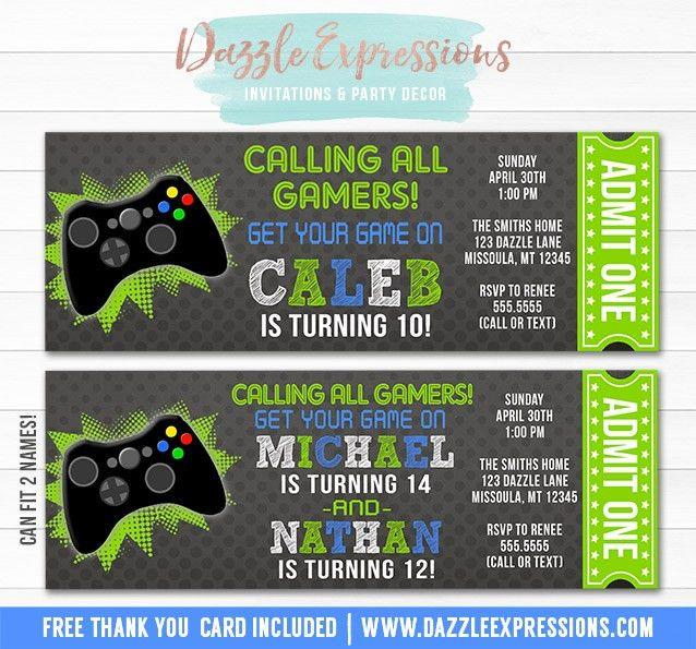 Printable Video Game Ticket Birthday Invitation - Boys Party ...