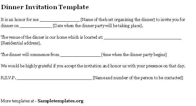 Formal Dinner Invitation Letter Sample