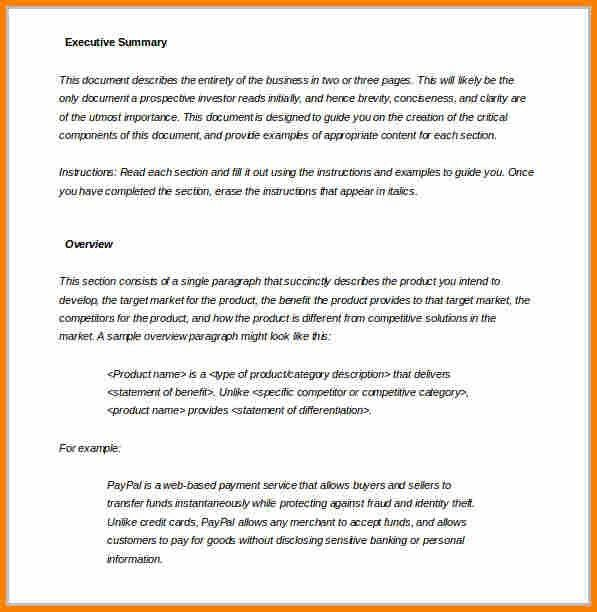 7+ executive summary template word | resume reference
