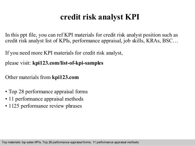 Credit risk analyst kpi