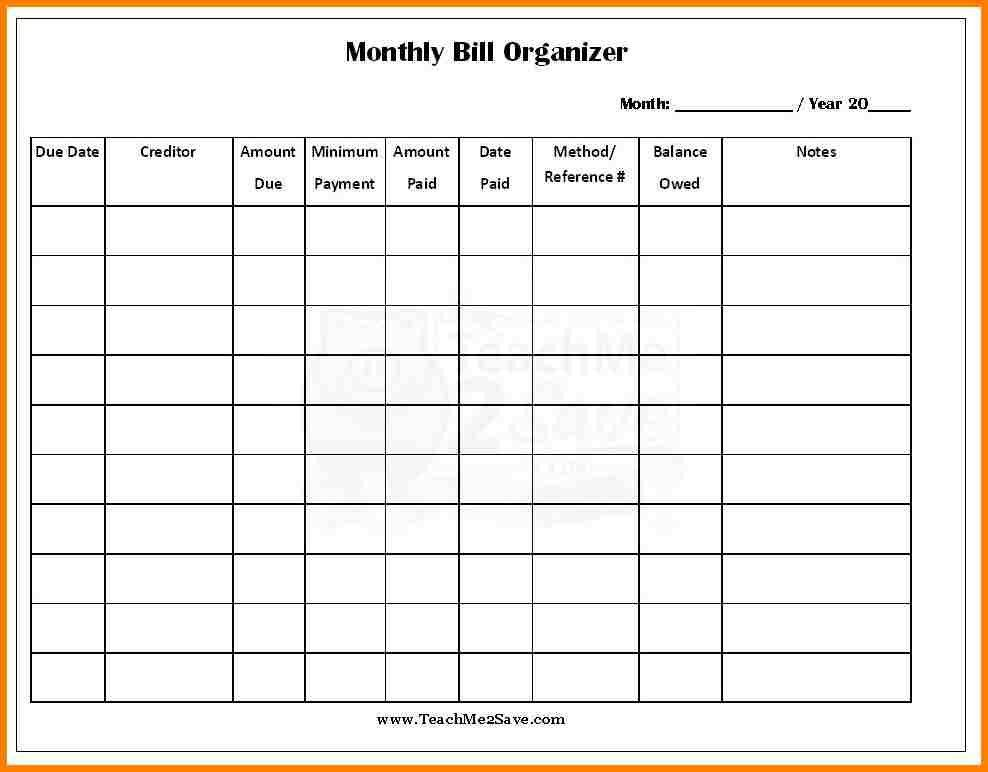 4+ monthly bill payment organizer   monthly bills template
