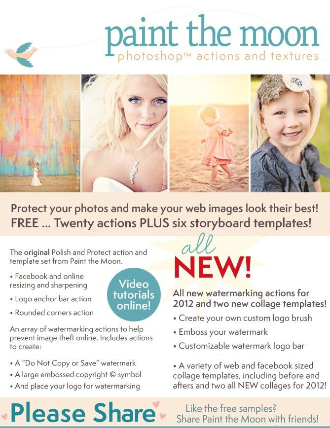Free Photoshop Actions & Watermarking, Storyboards and SO Much ...