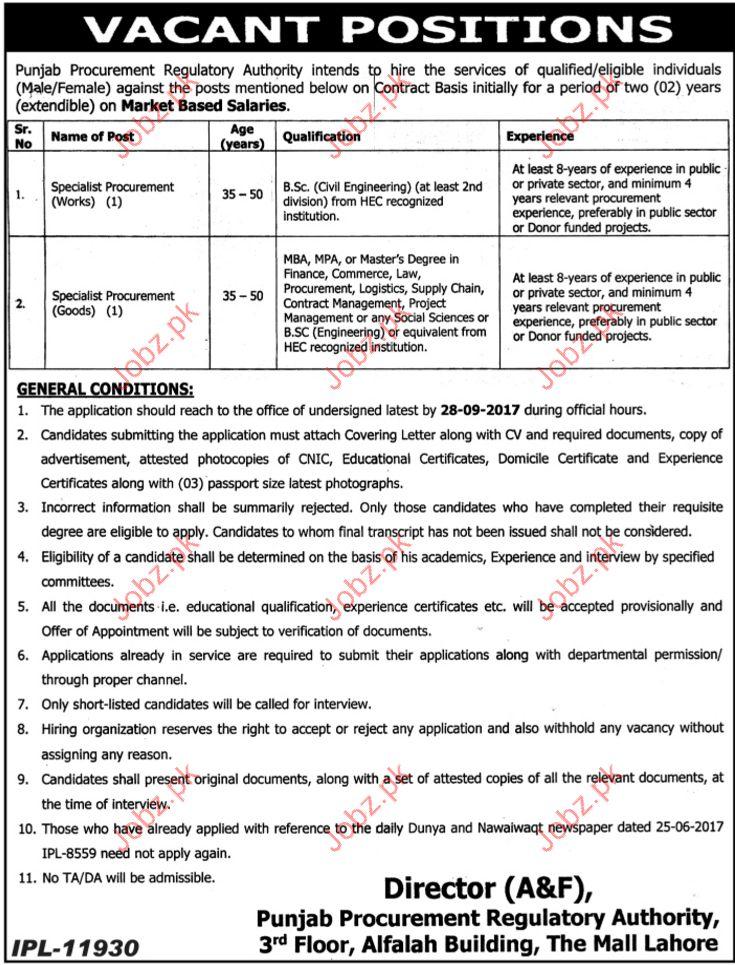 Procurement Jobs In Punjab Procurement Regulatory Authority 2017 ...