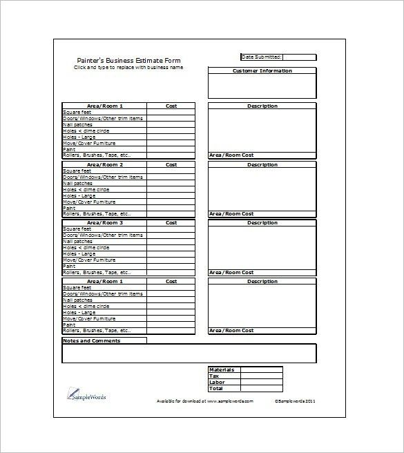 Painting Estimate Template - 4+ Free Word, PDF Documents Download ...