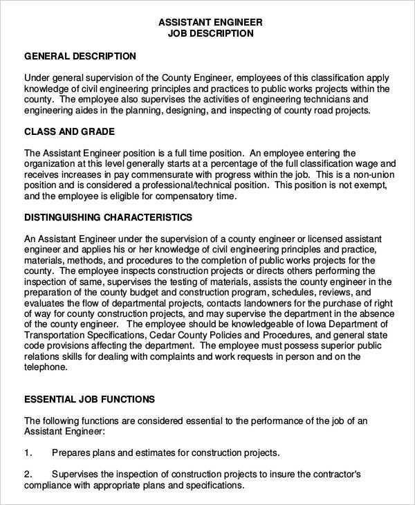 Engineer Job Description - 9+ Free Word, PDF Documents Download ...