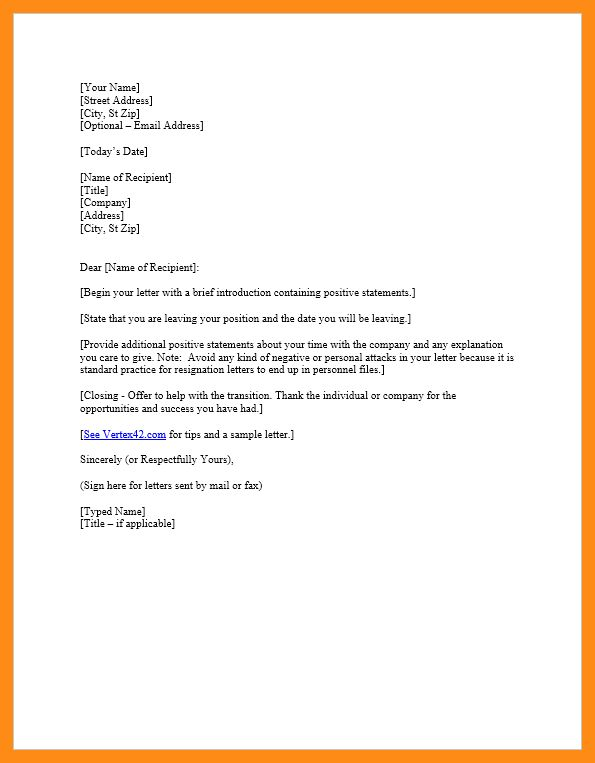 Resignation Template Doc. 16 sample resignation letter one month ...