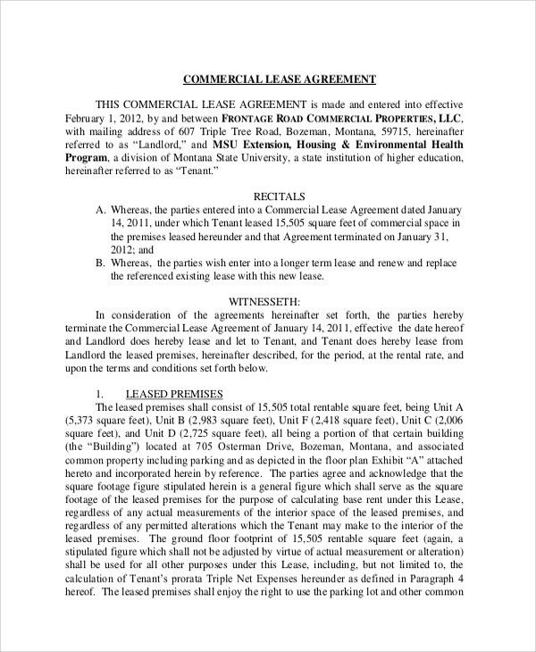 Sample Commercial Lease Agreement   7+ Documents In PDF