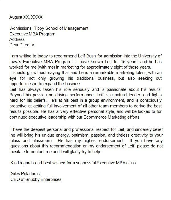 How to write a recommendation letter for internship | MBA ...