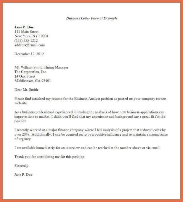 Business Letter Format Example. Business Cover Letter Format ...