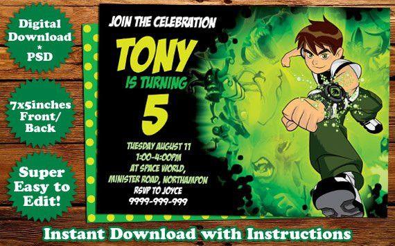 INSTANT DOWNLOAD: Ben10 Birthday Invitation Template | Birthday ...