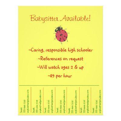 Babysitting promotional tear sheet flyer | Zazzle.com