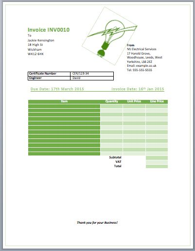 13 Free Electrical Invoice Templates Download - Demplates
