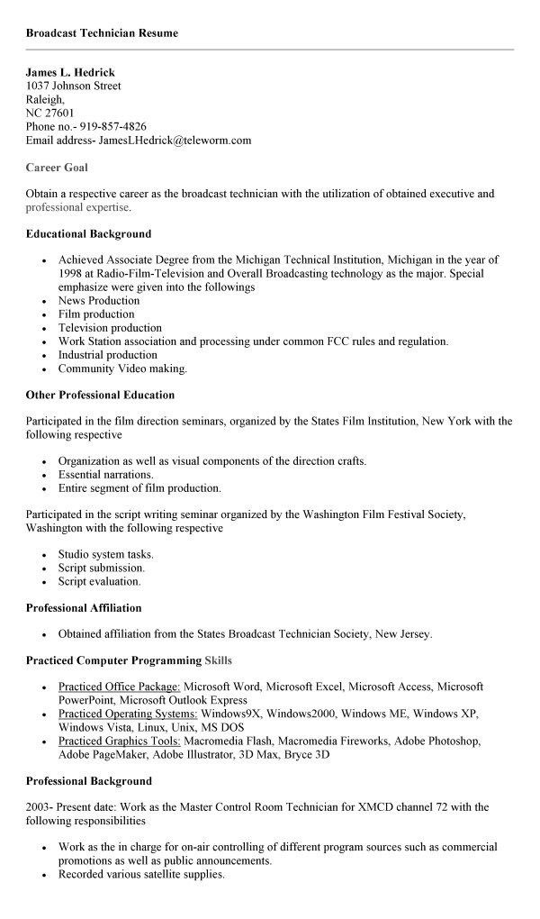 assistant engineer trainee resume samples broadcast engineering