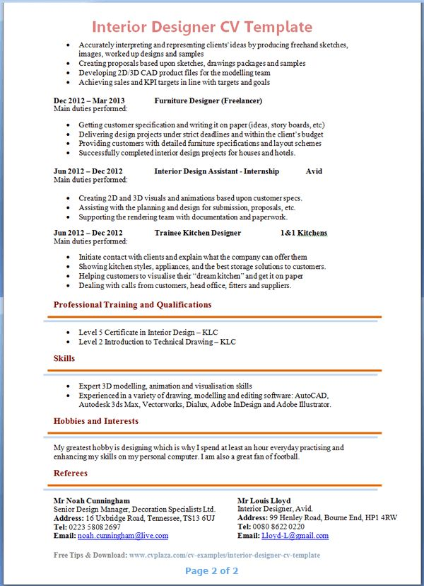 interior designer cv template tips and download cv plaza - Interior Designer Resume Sample