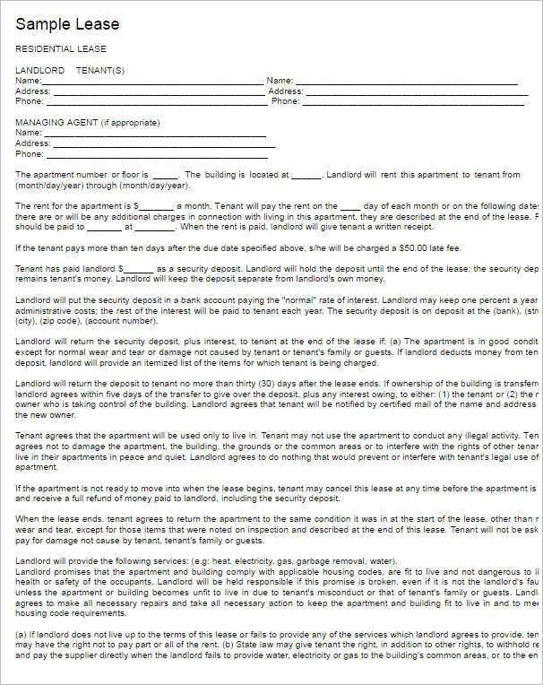 Sample Horse Lease Agreement. Free Pennsylvania Monthly Rental ...