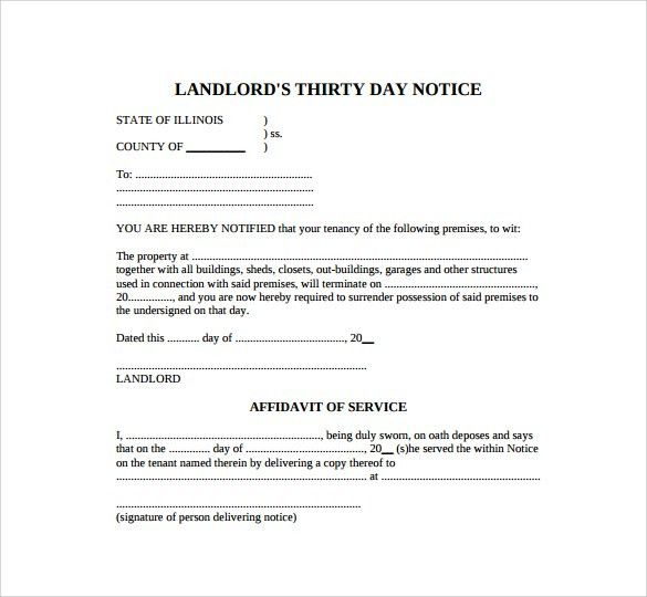 Sample 30 Day Notice Template - 8+ Free Documents in PDF, Word