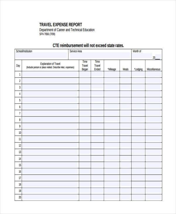 Free printable expense report - formats.csat.co
