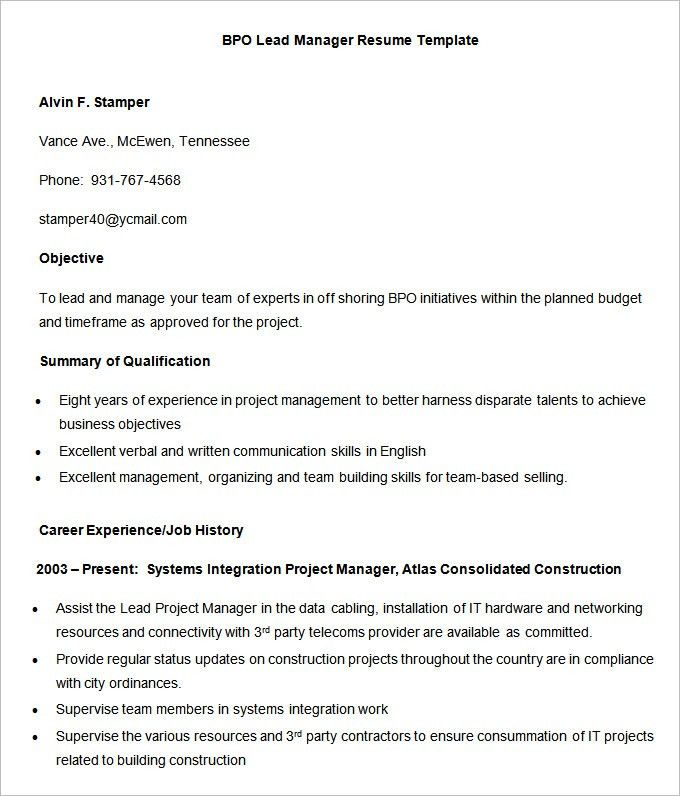 project manager resume format project manager resume format will ...