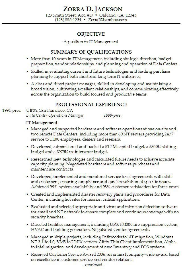 Professional Experience Examples For Resume. Manager Career Change ...