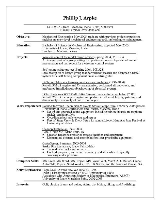 Entry Level Fresh Grad Mechanical Engineer Resume Sample : Vinodomia