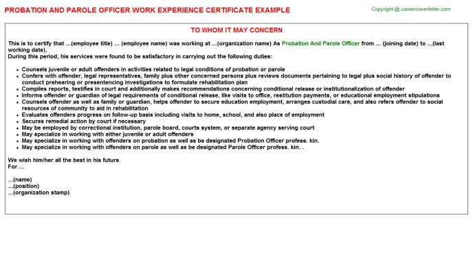Probation And Parole Officer Work Experience Certificate