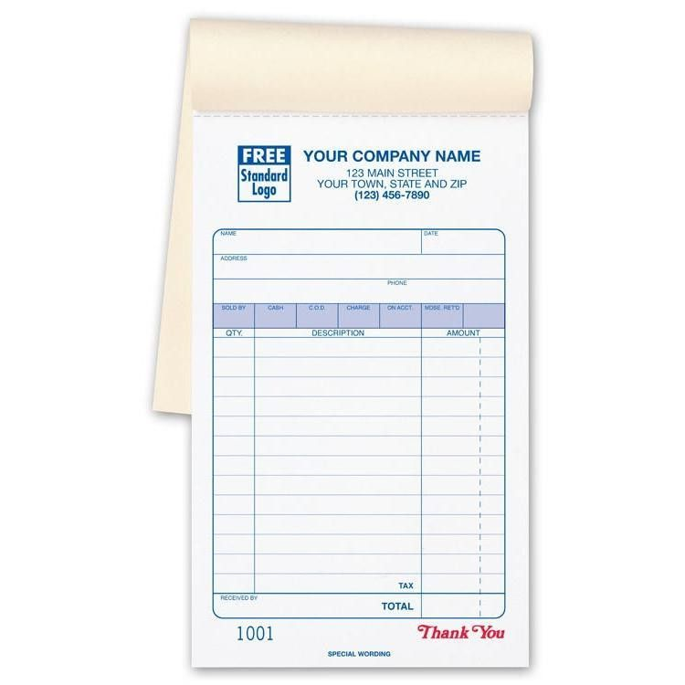 Sales receipt book imprinted with your business information ...