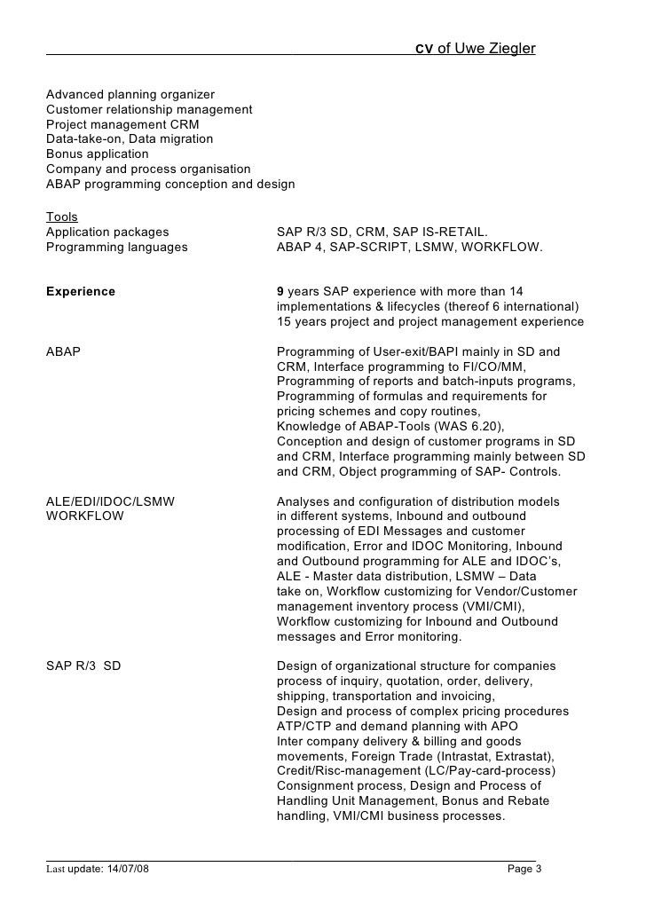 sap abap sample resume resume cv cover letter