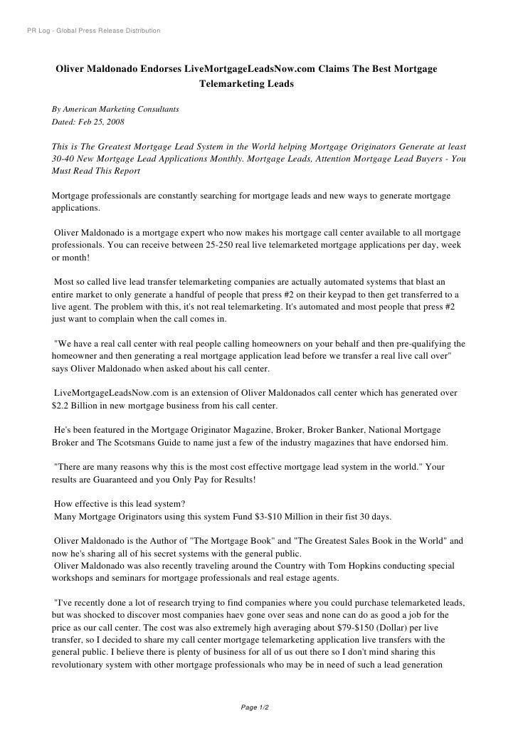PR Log - Oliver Maldonado Endorses LiveMortgageLeadsNow.com ...