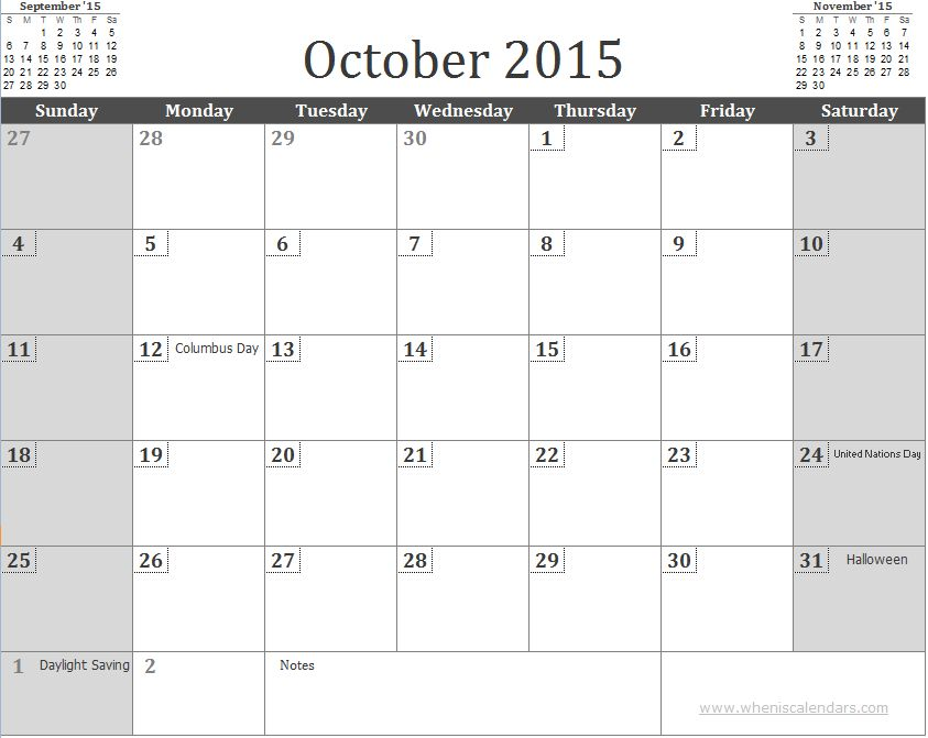Free October 2015 Calendar Template with Holidays