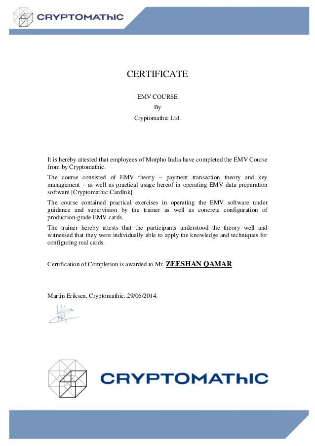 Certificate for Training - Zeeshan