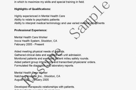 Mft Resume Sample Mental Health Resume Objective Example Mental ...