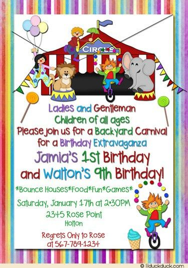 carnival birthday invitations | Carnival Birthday Party ...