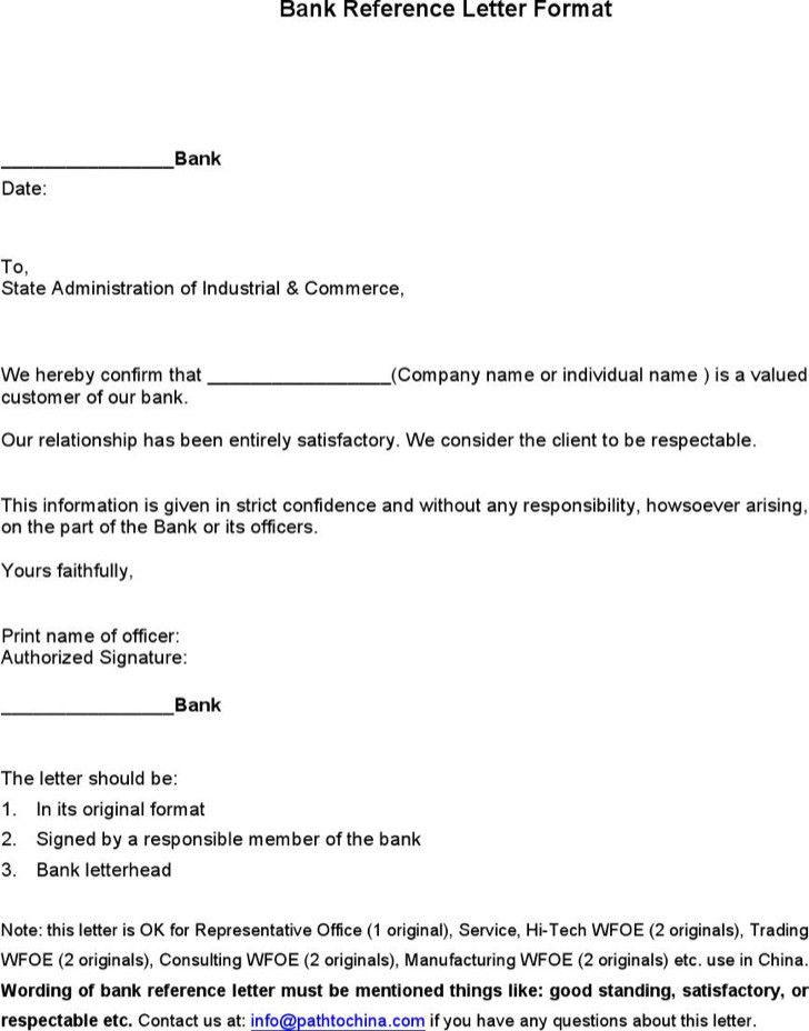Sample Bank Reference Letter Templates | Download Free U0026 Premium .