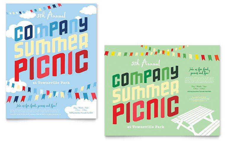 Company Summer Picnic Poster Template - Word & Publisher