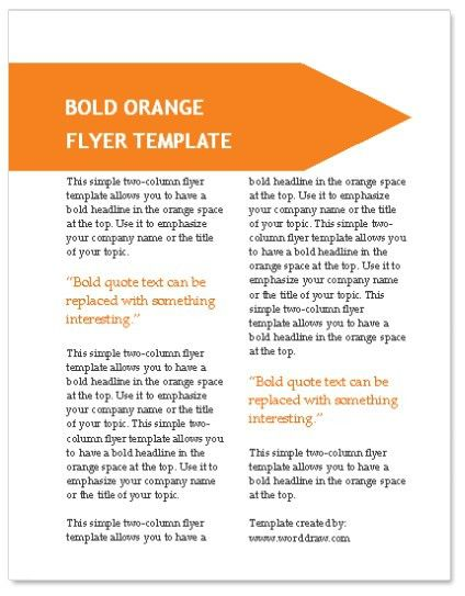 WordDraw.com - Orange Flyer Template for Microsoft Word