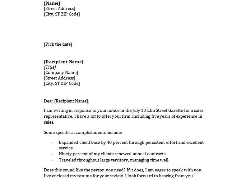 Simple Sample Cover Letter - My Document Blog