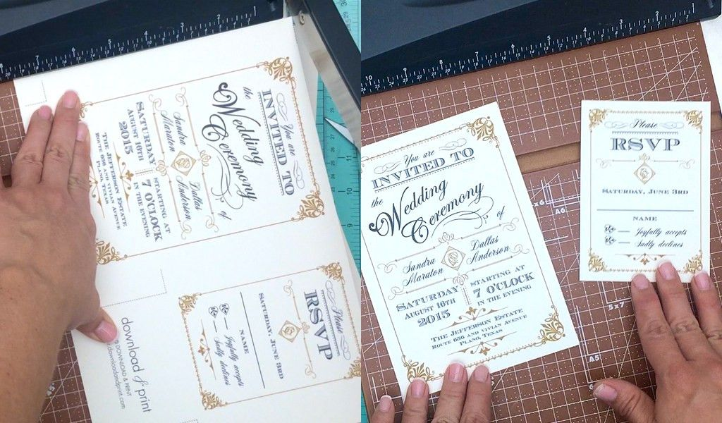Free Template: Vintage Wedding Invitation with Art Deco Band