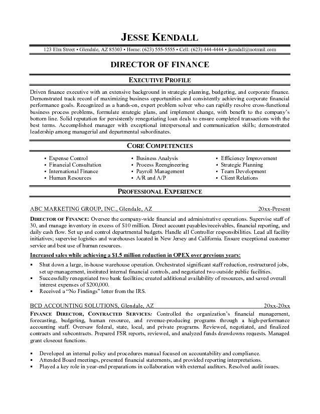 Finance Resume Template. A Professional Resume Template For A ...