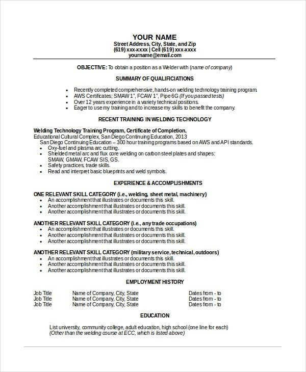 Welder Resume Template - 6+ Free Word, PDF Documents Download ...