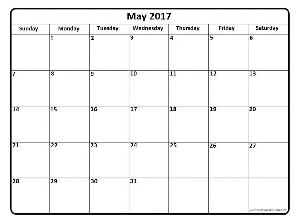 Blank May 2017 Calendar Templates, Calendar May 2017