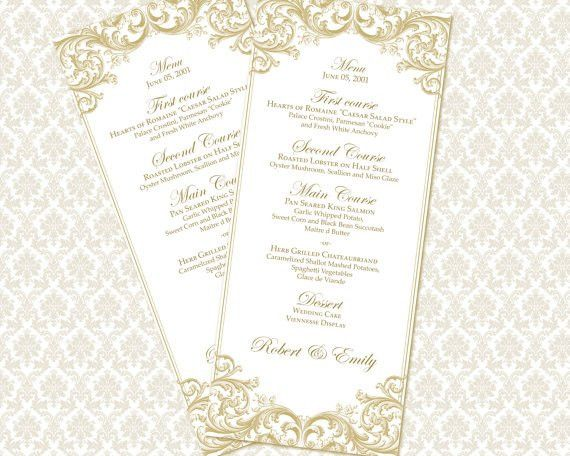 DIY Printable Wedding Menu Template tea length by WeddingsbyJanieV ...