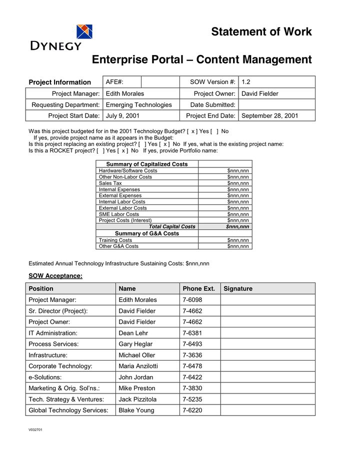 Statement of Work Template in Word and Pdf formats