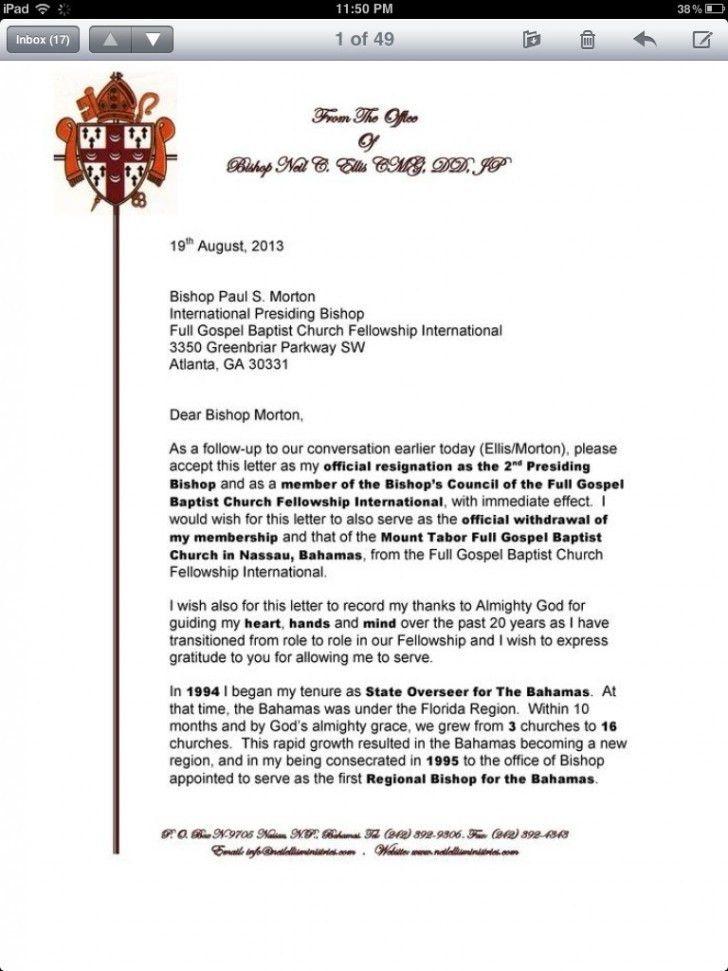 Resignation Letter : Sample Church Resignation Letter Member Great ...