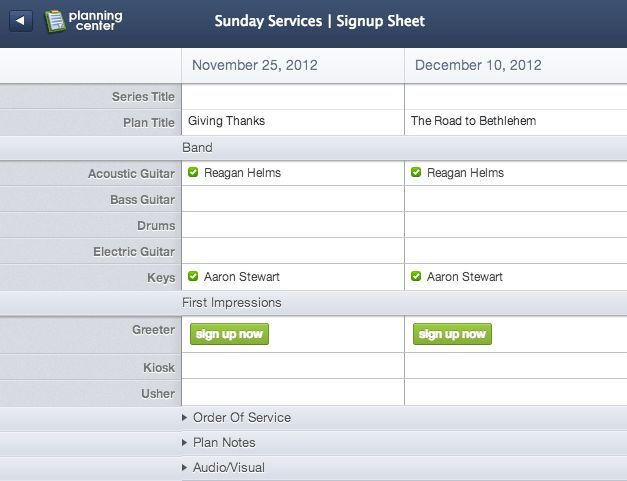 Planning Center Signup Sheets
