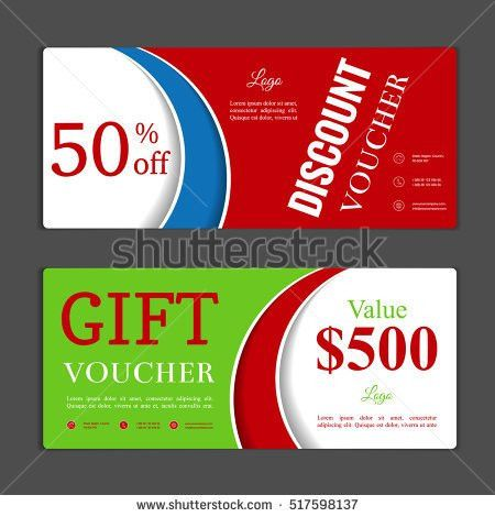 Two Coupon Voucher Design Gift Voucher Stock Vector 348860123 ...